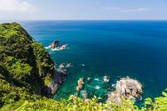 Seascape i linia brzegowa w Jusambutsu parku, Amakusa, Kumamoto Zdjęcie Royalty Free