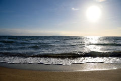 Seascape i słońce Obrazy Stock