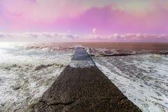 Seascape i skuggor av rosa färger med en väg som leder till havet Fotografering för Bildbyråer