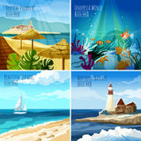 Seascape Illustrations Set Stock Image