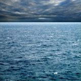 Empty seascape image. Seascape image of windy weather and waves on sea over cloudy sky Stock Photo