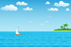 Seascape with Island. Seascape ship with seagulls on Green Island in the distance stock illustration