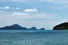 Seascape with islands on the horizon in Langkawi Royalty Free Stock Photography
