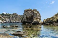 Seascape and Isola Bella near Taormina, Sicily Stock Image