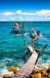 Seascape: Itália, Abruzzo, dei Trabocchi da costela Imagem de Stock Royalty Free