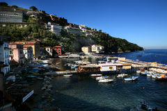 Seascape of Italy. Italy: seascape of Sorrento with boats in the harbour Royalty Free Stock Images
