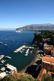 Seascape of Italy. Italy: seascape of Sorrento coast with boats in the harbour Royalty Free Stock Photography