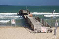 Seascape with jetty. Bulgaria, Sunny Beach Royalty Free Stock Image