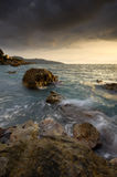 Seascape in Kalamata, Greece. Image shows a rocky seascape near the city of Kalamata, Greece, during a windy afternoon Stock Photos