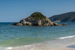 Seascape with Kalamitsi Beach at Sithonia peninsula, Chalkidiki, Central Macedonia, Greece. Amazing seascape with Kalamitsi Beach at Sithonia peninsula stock photos