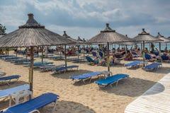 Seascape of Kalogria beach at Sithonia peninsula, Chalkidiki, Central Mac. CHALKIDIKI, CENTRAL MACEDONIA, GREECE - AUGUST 25, 2014: Seascape of Kalogria beach at Stock Image