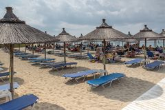 Seascape of Kalogria beach at Sithonia peninsula, Chalkidiki, Central Mac. CHALKIDIKI, CENTRAL MACEDONIA, GREECE - AUGUST 25, 2014: Seascape of Kalogria beach at Royalty Free Stock Photography