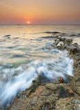 Seascape of Khao Lak Beach at sunset, Thailand. Royalty Free Stock Images
