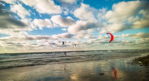 Kite-surfers royalty free stock images