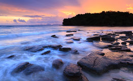 Seascape of Klong muang beach at sunset, Krabi, Thailand Stock Photo