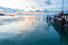 Seascape of Koh Samui pier in twilight sunset. Stock Photography