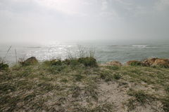 Seascape lös strand, havvågor Arkivbilder