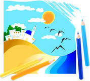χρωματισμένο συρμένο seascape μο&la Στοκ εικόνες με δικαίωμα ελεύθερης χρήσης