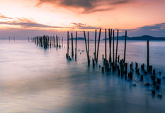 Seascape landscape nature in twilight long exposure Royalty Free Stock Image