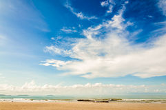 Seascape, landscape view with sand on beach Royalty Free Stock Photos