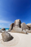 Granite Boulders on the Carana beach of Mahe island,  Seychelles Royalty Free Stock Photography