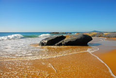 Seascape with Large Rocks on the Shore Royalty Free Stock Photography