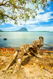 Seascape. Le Morne on a background Royalty Free Stock Images