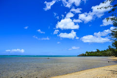 Seascape in Le Morne, Mauritius. Cloudscape in blue sky Stock Photo