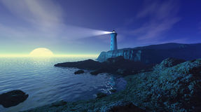 Seascape with lighthouse Royalty Free Stock Photos