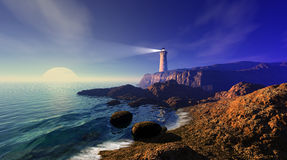 Seascape with lighthouse Royalty Free Stock Photo