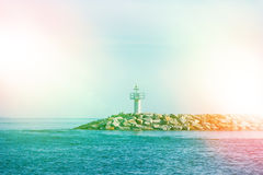 Seascape with lighthouse Stock Image