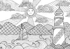 Seascape line art design for coloring book for adult, anti stress coloring - stock
