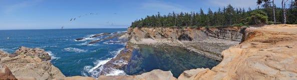 Seascape litoral de Oregon - panorama fotografia de stock royalty free