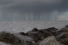 Seascape with lots of windmills generators Stock Photography