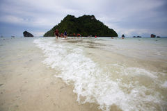 Seascape low seawater is unseen Thailand on Ao Phra Nang Royalty Free Stock Photos