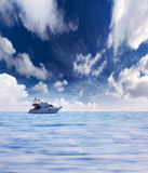 Seascape with luxury yacht Royalty Free Stock Image