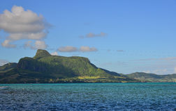 Seascape in Mahebourg, Mauritius. Seascape with mountains in Mahebourg, Mauritius. Mauritius, an Indian Ocean island nation, is known for its beaches, lagoons Stock Photos