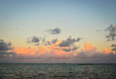 Seascape in Mahebourg, Mauritius. Sunset with colorful clouds on the sea in Mahebourg, Mauritius Stock Photography
