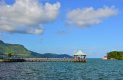 Seascape in Mahebourg, Mauritius. Seascape with a wooden bridge in Mahebourg, Mauritius. Mauritius, an Indian Ocean island nation, is known for its beaches Stock Images