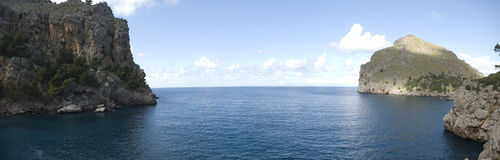 Seascape mallorca panoramic stock photos
