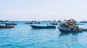 Seascape with many anchored fishing boats. Near an african island Royalty Free Stock Photography