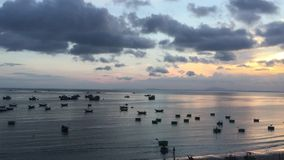 Seascape with many boat in sunset stock footage