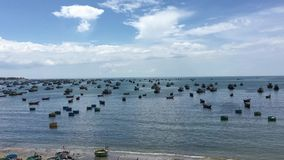 Seascape with many boats in Vietnam stock video