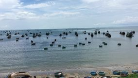 Seascape with many boats in Vietnam stock footage