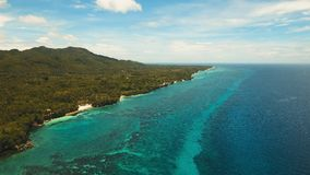 Seascape med den tropiska ön, strand, semesterort, hotell Bohol Anda område, Filippinerna Royaltyfri Fotografi