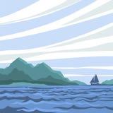 Seascape med en kontur av en segelbåt på horisonten Stock Illustrationer