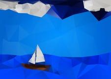 Seascape med fartyget vektor illustrationer