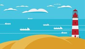 Seascape med fyren på kullen och skeppen stock illustrationer