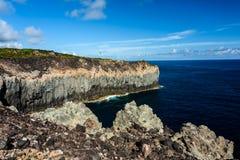Seascape med klippan i terceria royaltyfria foton