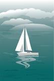 Seascape med segelbåten royaltyfri illustrationer